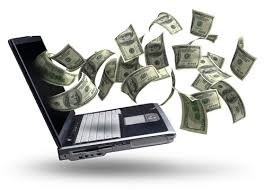 laptop issuing dollar bills