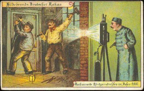 old postcard of policeman filming two criminals
