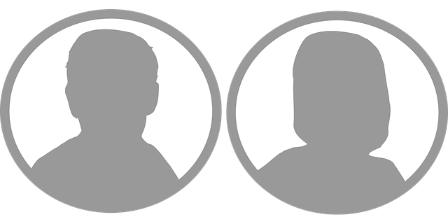 male & female faces in silhouette
